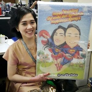 Karikatur Tema Superman untuk Hadiah Wedding Teman Terkasih