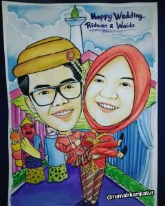 Karikatur Handmade Cat Air Tema Pernikahan Adat Betawi