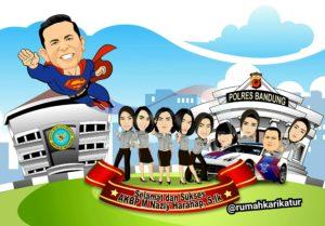 Perpisahan Polres Bandung dengan Karikatur